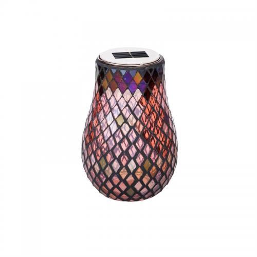 Outdoor Lighting Lantern Solar Light-n-motion Glass Dimensions Led Vase - Red Mosaic