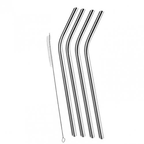 Drinking Straw Metal Stainless Steel Curved 4 With Brush