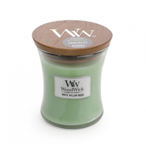 Woodwick Medium Candle White Willow Moss 10oz 60 Hour Burn Time