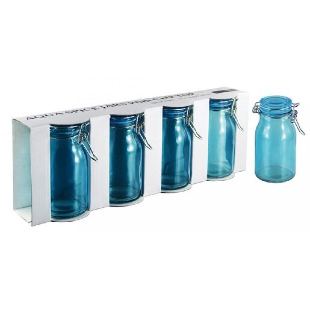 Spice Jar Glass Aqua 4 Piece Set 6oz