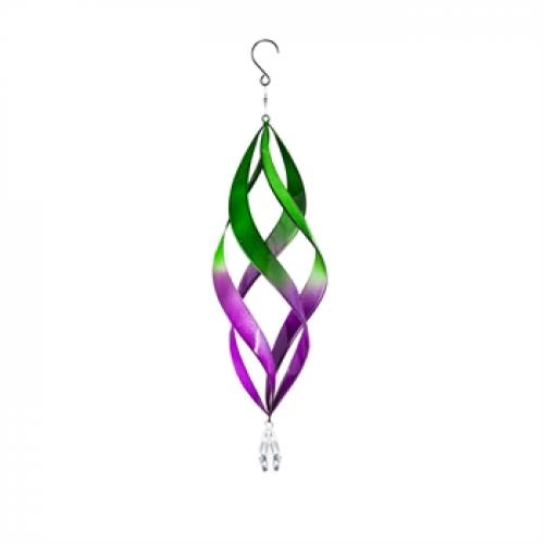 Outdoor Decorative Hanging Kinetic Spinner Spiral Green & Purple