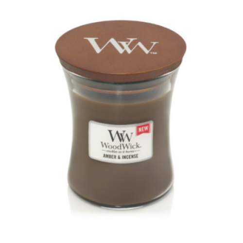 Woodwick Medium Candle Jar Amber And Incense 10oz 60 Hour Burn Time