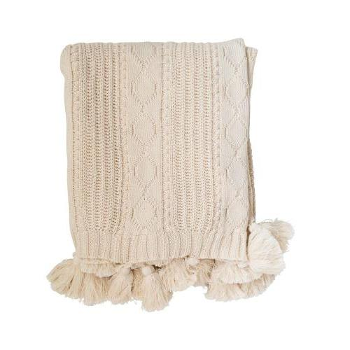 Throw - Cotton Knit Cable Throw With Tassels - Natural