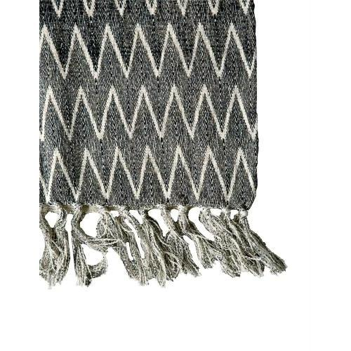 Throw Blanket Cotton With Chevron Print, Natural And Black