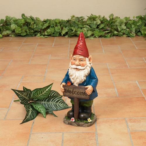 Outdoor Decorative Garden Statue Gnome Resin Welcome Sign