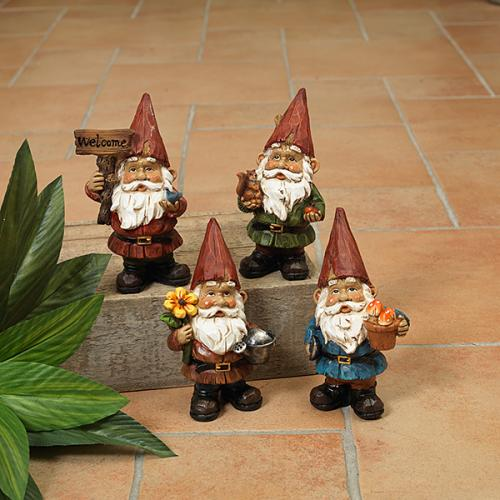 Outdoor Decorative Garden Statue Gnome Resin 5inch Figurine 4asst