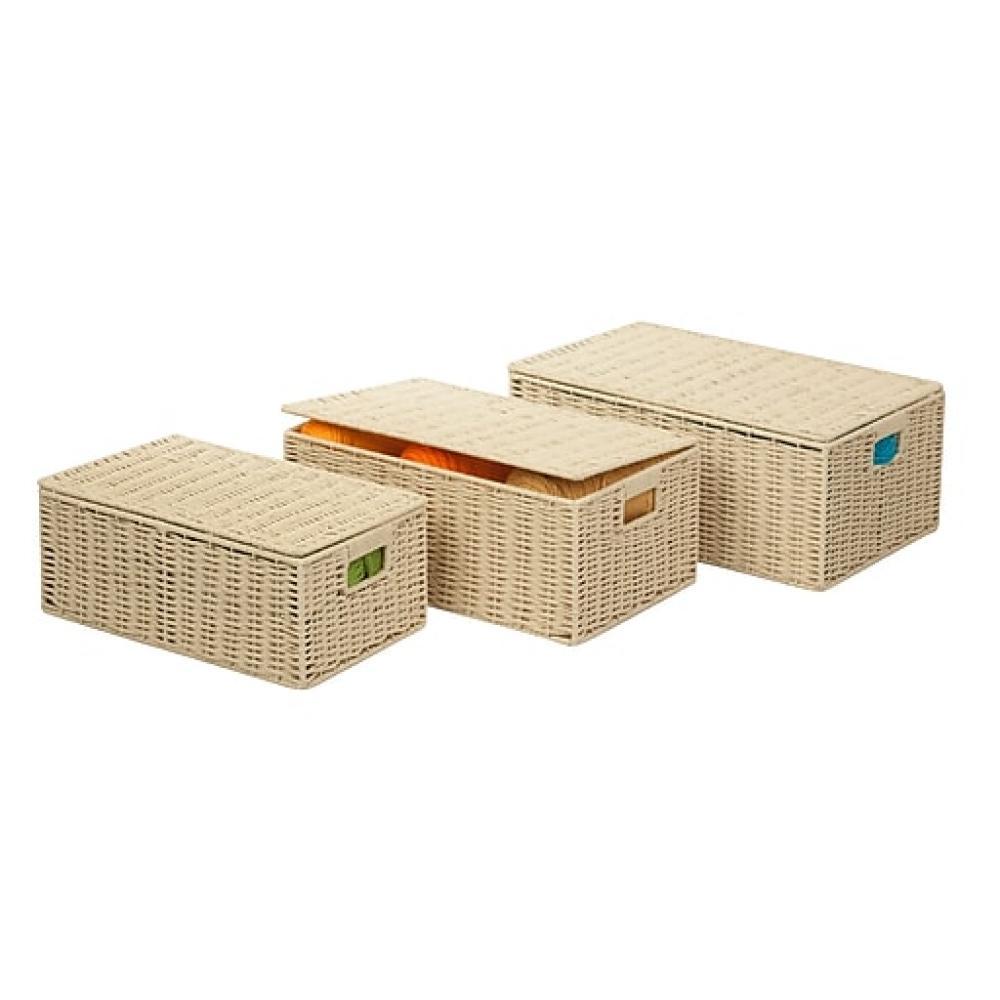 Hinged Lid Baskets Natural
