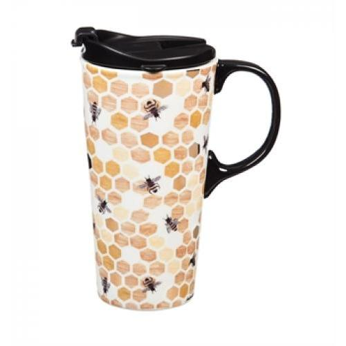 Travel Tumbler Mug-handled Ceramic 17oz Pattern-happy To Bee Here