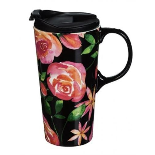 Travel Tumbler Mug-handled Ceramic 17oz Graphic-Floral Night