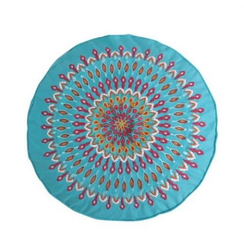 Mirage Teal Peacock Round Pillow