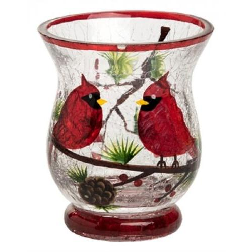 Candle Holder - Small Crackle Glass Cardinal
