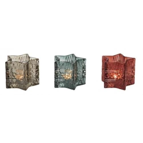 Tealight Holder - Glass Star - 3 Assorted