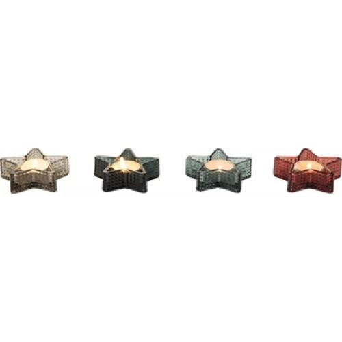 Tealight Holder - Glass Star - 4 Assorted