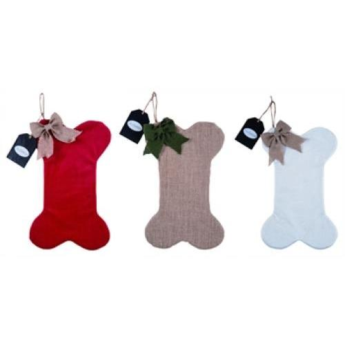 Stocking - Fabric Bone Shape - 3 Assorted