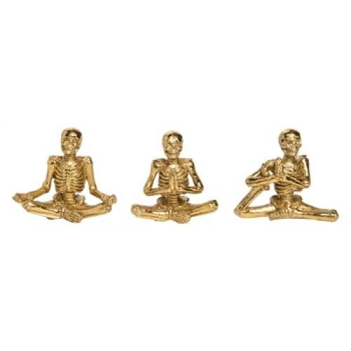 Halloween Yoga Skeleton Figurine - 3 Assorted