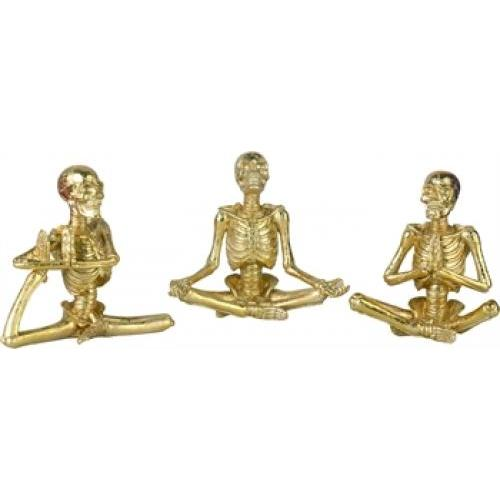 Halloween Gold Yoga Skeleton Figurine - 3 Assorted