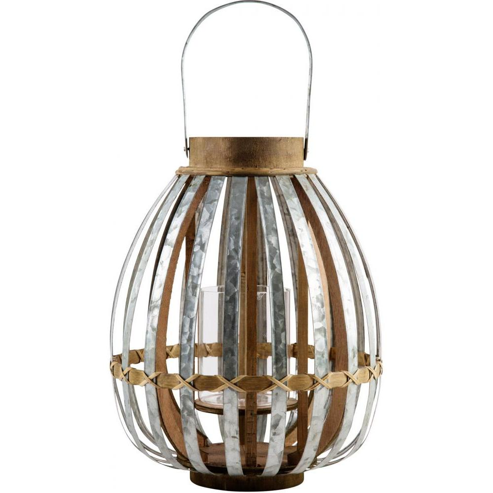 Outdoor Lantern Wood & Metal 14.5in