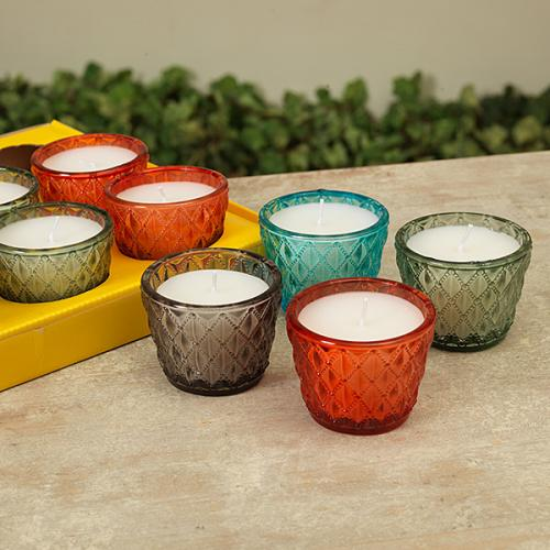 Citronella Candles Glass 4asst 2inch