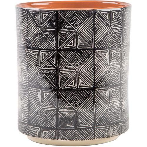 Utensil Holder Crock Ceramic Pattern Square Stamp Black & White