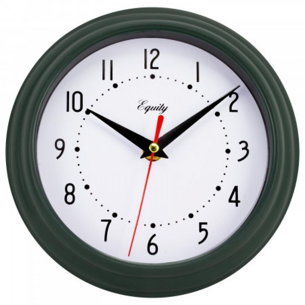"Wall Clock Analog Equity 8"" Face-white Frame-green-dark"