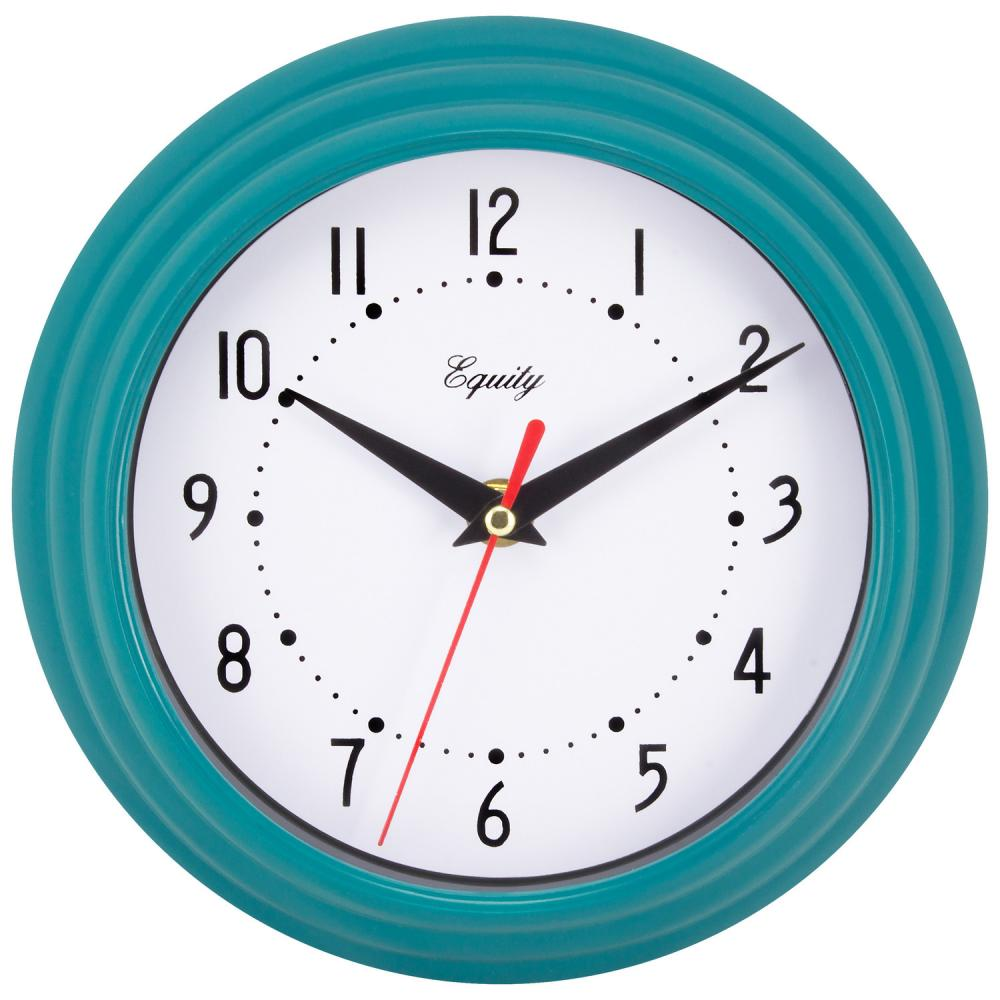 "Wall Clock Analog Equity 8"" Face-white Frame-blue-teal"