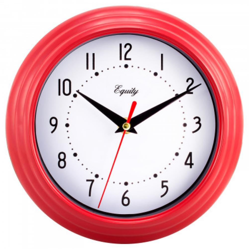 "Wall Clock Analog Equity 8"" Face-white Frame-red"