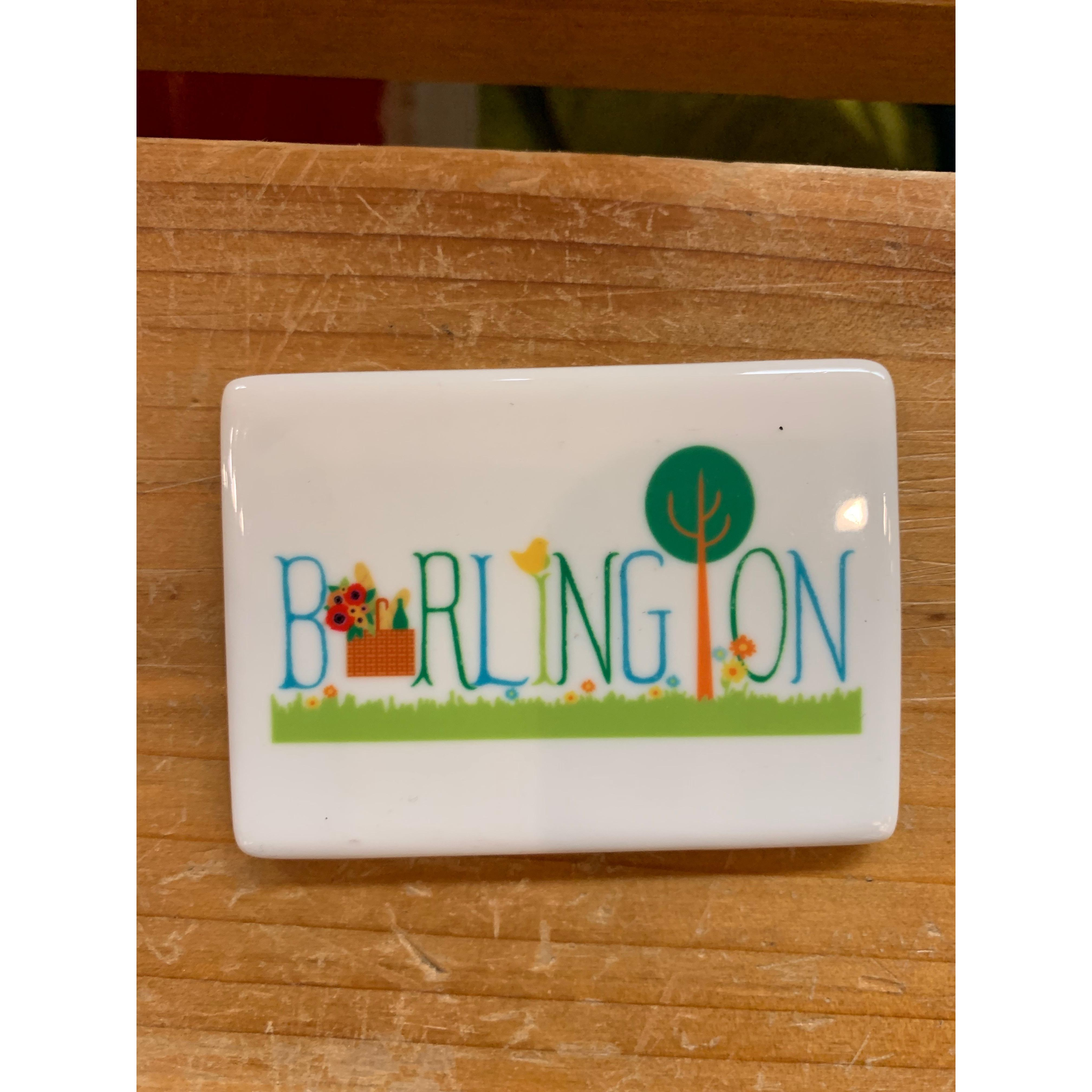 Magnet - My Town - Burlington With Picnic Basket And Wildflowers