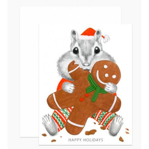 Holiday - Chipmunk Eating Gingerbread