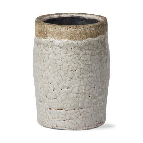 Planter Crackle Glaze Grey 6in