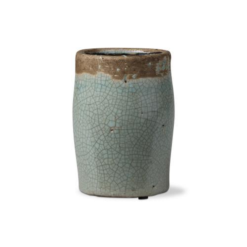 Planter Crackle Glaze Tall Aqua 6in