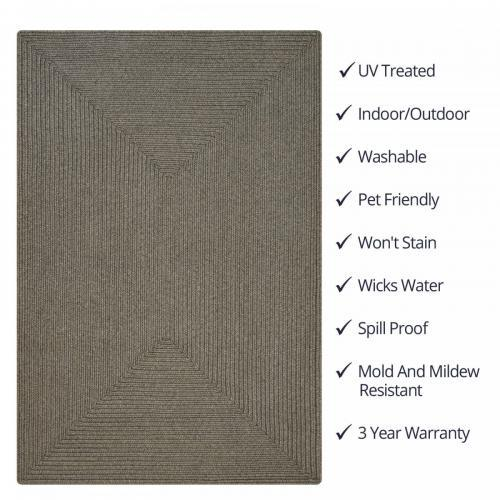 Ultra Durable Smoke Rug 2ft X 3ft  Braided Rectangular
