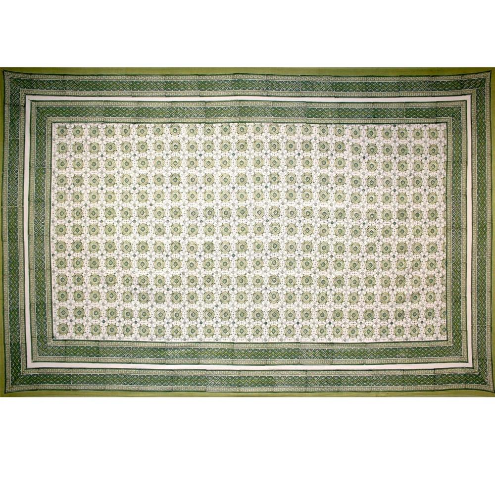 Tapestry Twin Size Tile Print White Background Green