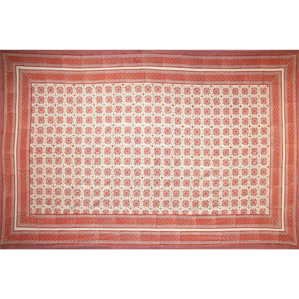 Tapestry Twin Size Tile Print White Background Pink