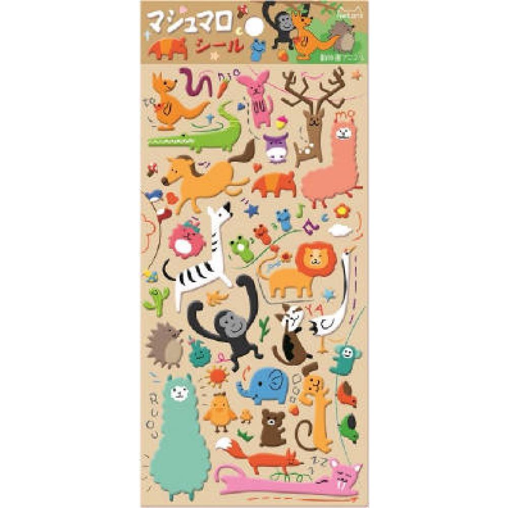 Stickers Animals Zoo Puffy