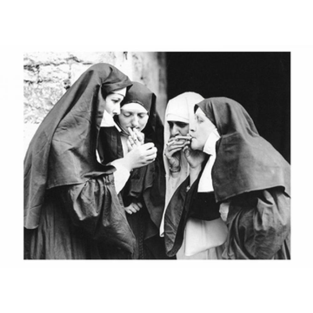 Postcard - Smoking Nuns