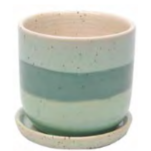 Flower Planter Pot Water Color Stripe Egg Pot Mint 6x6