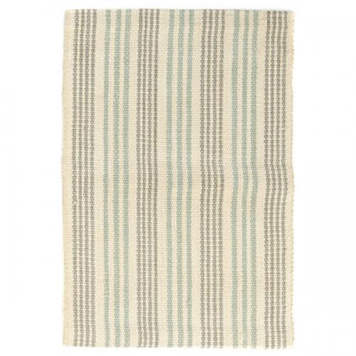 Woven Jute Latex Back Rug White And Turquoise Runner 24in X 84in