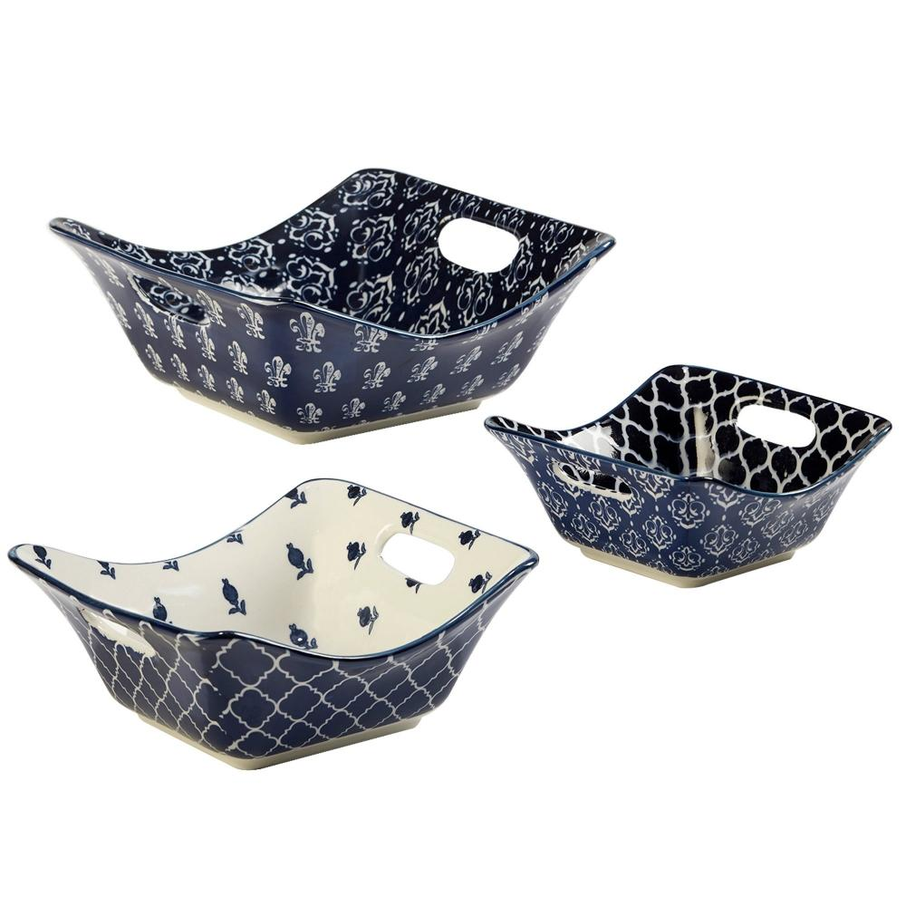 Dinnerware \'blue Indigo\' Square Bowl 3 Pieces Assorted Styles