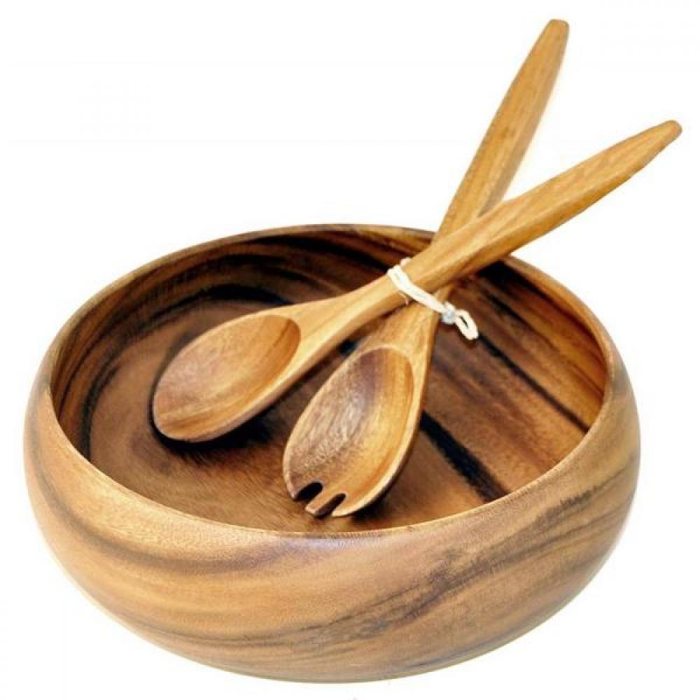 Acacia Salad Bowl 3pc. Set 12x 4in.