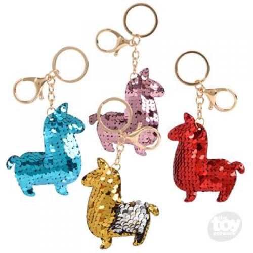 Sequinimals Keychain Alpaca 3in