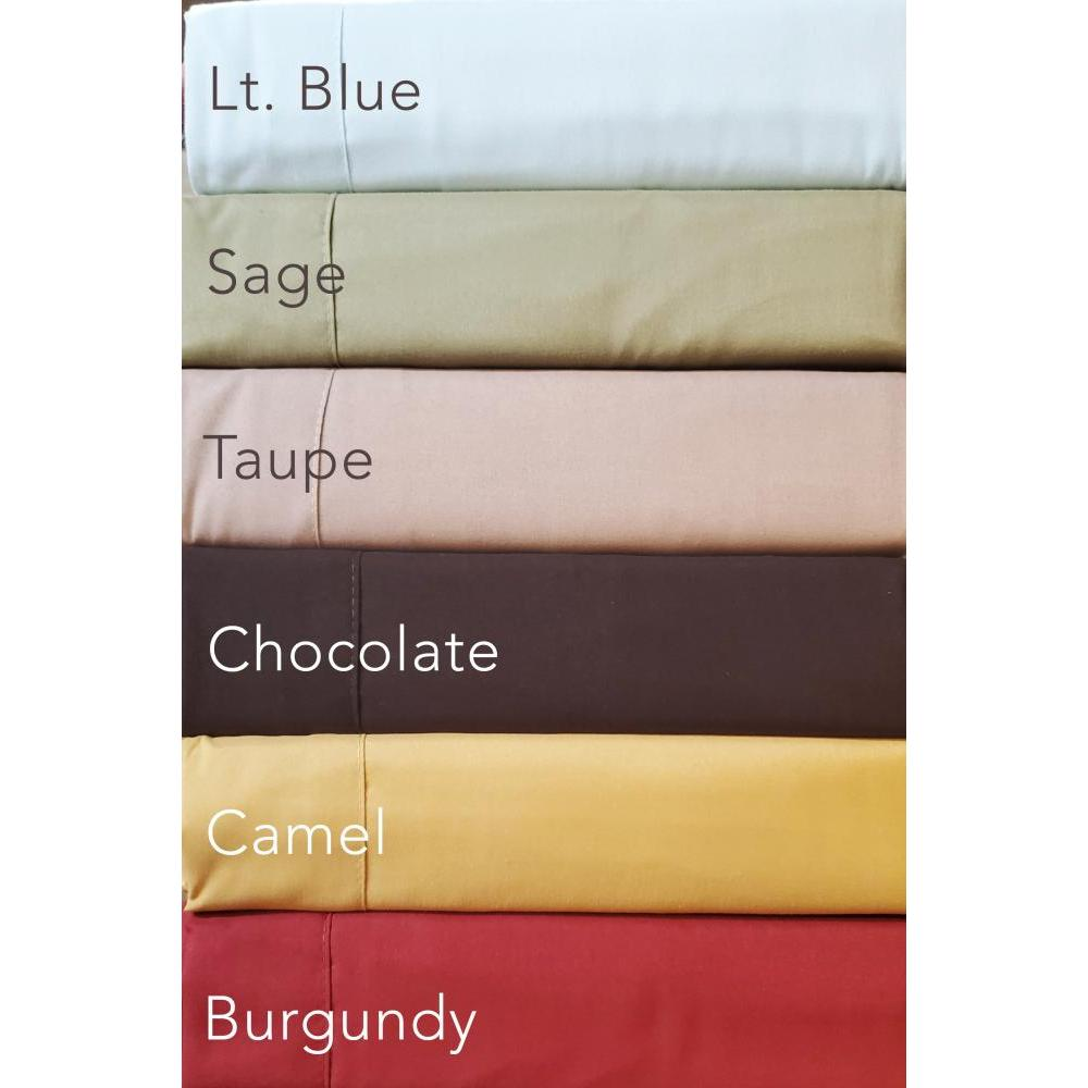 Queen Sheet Set 1800 Series Neutral Colors Light Blue, Sage, Taupe, Chocolate, Camel, Burgundy