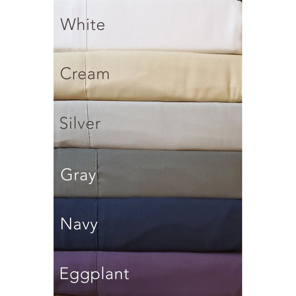 Twin Sheet Set 1800 Series Neutral Colors White, Cream, Silver, Gray, Navy, Eggplant
