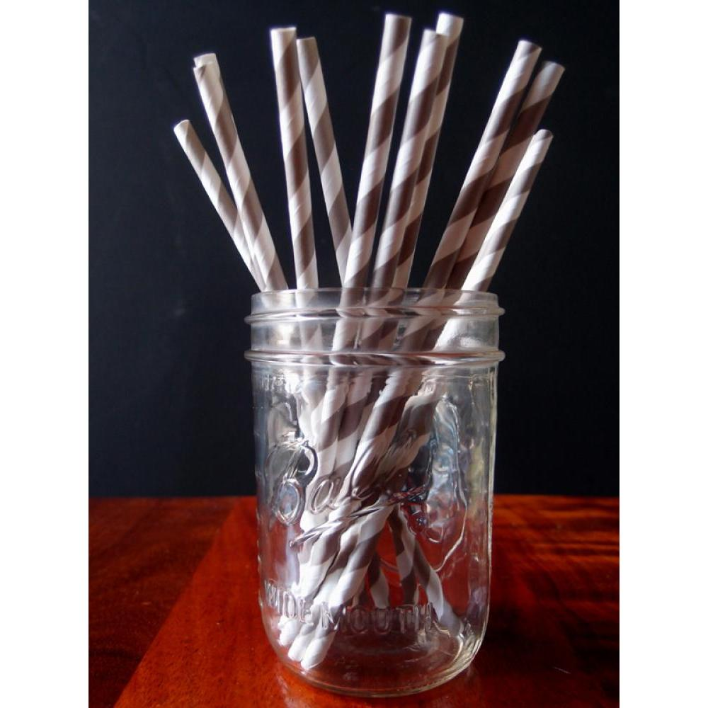 Drinking Straw Paper Stripes Gray