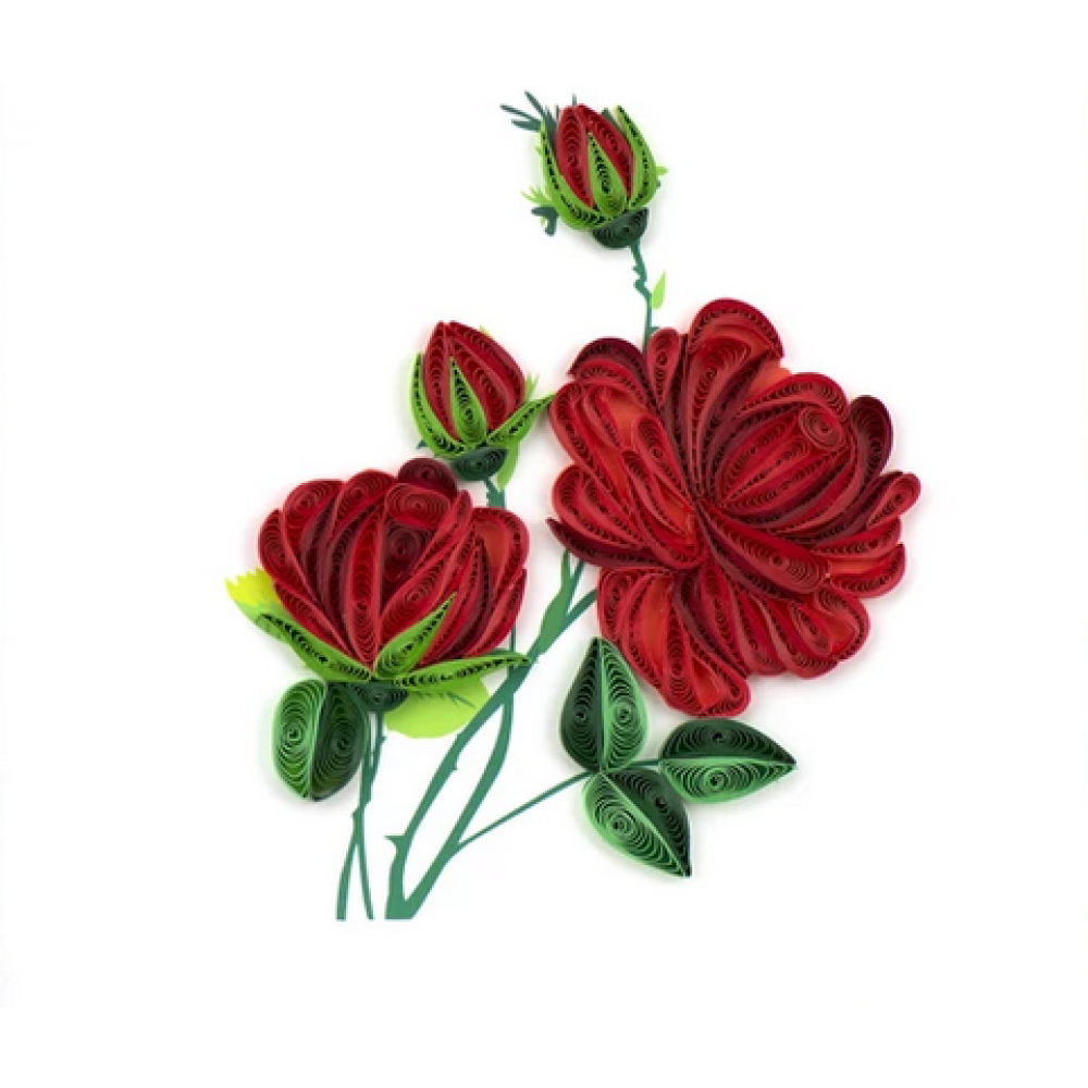 Any Occasion - Quilling Card - Red Rose Bouquet