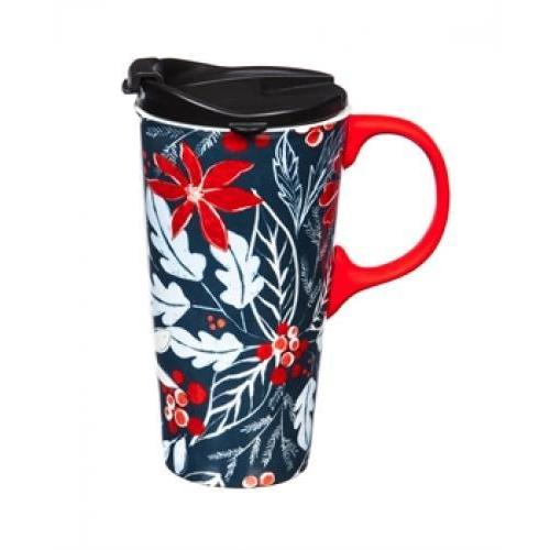 Seasonal Holiday Travel Mug Ceramic 17oz Graphic-blue Holly
