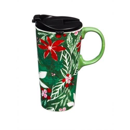 Seasonal Holiday Travel Mug Ceramic 17oz Graphic-green Holly