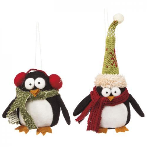 Seasonal Holiday Ornament - Plush Penguin - 12 Pieces