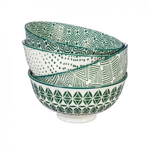 Dinnerware Bowl Ceramic Stamped Pattern Green 8oz
