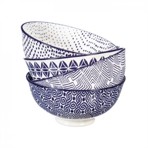 Dinnerware - Ceramic Bowl Stamped Pattern Blue 8oz