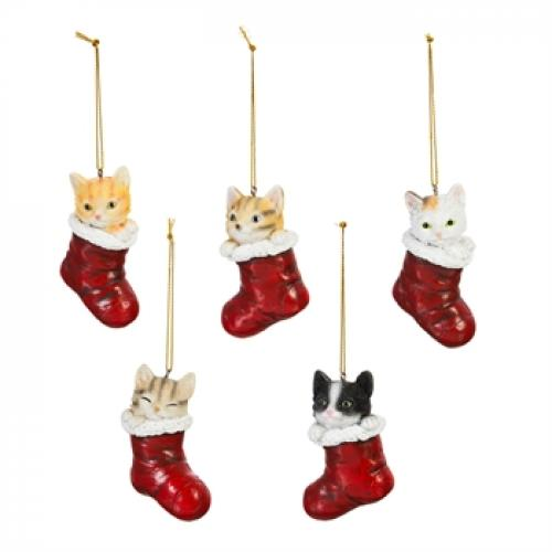 Seasonal Holiday Ornament - Cat In Stocking